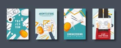 Lo stile piano dell'architettura e di ingegneria riguarda l'insieme Costruzione di disegno Progetto architettonico Progettazione  illustrazione vettoriale