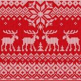 Lo stile piano scandinavo ha tricottato il modello con i cervi e gli alci illustrazione di stock