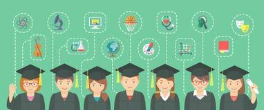 Lo stile piano scherza il concetto di graduazione con le icone della scuola Fotografie Stock Libere da Diritti