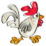 Lo stile puerile ingenuo del disegno del gallo del bambino del fumetto ha isolato il bianco Immagine Stock
