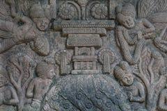 Lo stile tailandese del cemento di rilievo basso handcraft Fotografie Stock