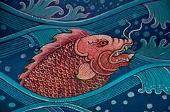 Lo stile tailandese della pittura sulla parete Immagini Stock