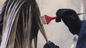Lo stilista fa la coloritura di capelli nello studio di bellezza, donna cambia il suoi sguardo, coloritura professionale e cura d stock footage