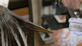 Lo stilista tinge i capelli in mèche biondi Salone di bellezza stock footage
