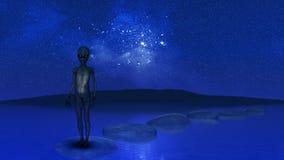 lo straniero 3D è stato sulle pietre facenti un passo in oceano contro cielo notturno Fotografie Stock Libere da Diritti