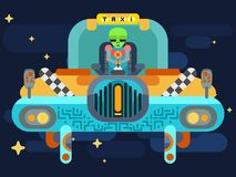 Lo straniero giura dentro un taxi dello spazio fra le stelle illustrazione di stock
