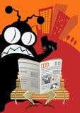 Lo straniero invade il giornale della città illustrazione di stock