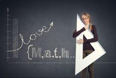 Lo studente ama il per la matematica Fotografia Stock