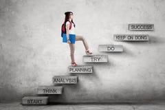 Lo studente cammina sulle scale con il piano di strategia Immagine Stock Libera da Diritti