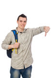 Lo studente caucasico sorridente con lo zaino isolato su bianco Immagini Stock