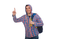 Lo studente caucasico sorridente con lo zaino isolato su bianco Fotografia Stock Libera da Diritti