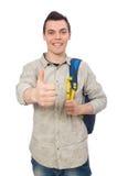 Lo studente caucasico sorridente con lo zaino isolato su bianco Fotografie Stock