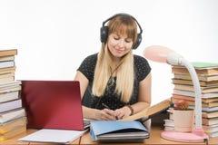 Lo studente che ascolta la musica sulle cuffie si è impegnato nella preparazione per l'esame Fotografia Stock Libera da Diritti