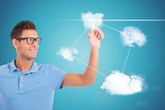 Lo studente che opera la sua scelta spingendo la nuvola ha modellato i bottoni Immagine Stock