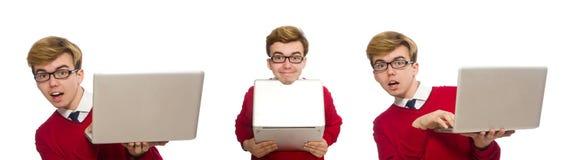 Lo studente che per mezzo del computer portatile isolato su bianco Immagini Stock Libere da Diritti