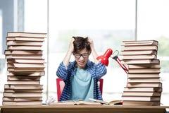 Lo studente con i lotti dei libri che preparano per gli esami Fotografia Stock Libera da Diritti