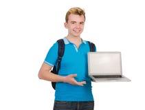 Lo studente con il computer portatile su bianco Fotografia Stock