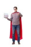 Lo studente dell'eroe eccellente con i libri isolati su bianco Immagine Stock