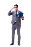 Lo studente dell'uomo d'affari che legge un libro isolato sul fondo bianco Fotografie Stock
