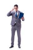 Lo studente dell'uomo d'affari che legge un libro isolato sul fondo bianco Immagine Stock Libera da Diritti