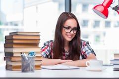 Lo studente della giovane donna che prepara per gli esami dell'istituto universitario Immagine Stock