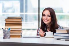 Lo studente della giovane donna con molti libri Immagini Stock Libere da Diritti