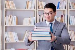 Lo studente di diritto di affari con il mucchio dei libri che lavorano nella biblioteca Fotografie Stock Libere da Diritti