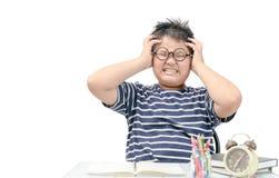 Lo studente grasso asiatico del ragazzo ha sollecitato dallo studio isolato fotografia stock