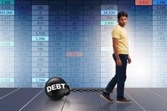 Lo studente nel prestito e nel concetto costoso di istruzione illustrazione di stock