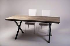 Lo studio di legno moderno della tavola ha sparato su fondo bianco Immagini Stock