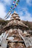 Lo stupa di buddismo o chorten con le bandiere di preghiera in Himalaya Immagine Stock Libera da Diritti