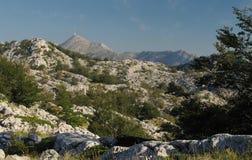 Lo SV. Jure - il più alta montagna nella catena montuosa Biokovo in Croazia Immagini Stock