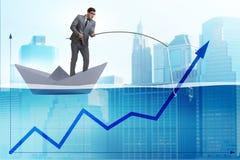 Lo sviluppo economico sostenente dell'uomo d'affari con la canna da pesca illustrazione di stock