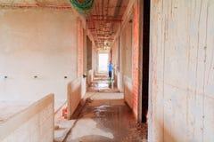 Lo sviluppo interno di piano della costruzione del cantiere su alloggio con lo spazio della copia aggiunge il testo Fotografia Stock