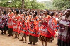 Lo Swazi indossa l'abbigliamento tradizionale fotografia stock