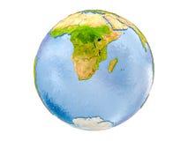 Lo Swaziland sul globo isolato Fotografia Stock