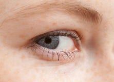 Lo vedo - macro dell'occhio umano Immagini Stock