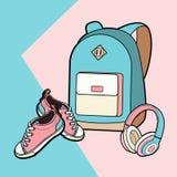 Lo zaino, le scarpe da tennis e le cuffie hanno isolato l'insieme Zaino dei pantaloni a vita bassa di modo della gioventù, illus illustrazione di stock