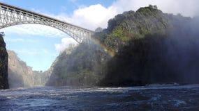 Lo Zambia del fiume Zambezi del ponte di Vicfalls Fotografia Stock Libera da Diritti