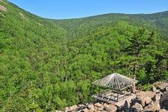Lo zen gradice il pavillion ed il pino solo sulla montagna Immagine Stock Libera da Diritti