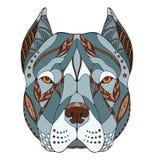 Lo zentangle capo del pitbull terrier ha stilizzato, vector, illustrazione, fotografie stock
