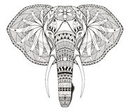 Lo zentangle capo dell'elefante ha stilizzato, vector, illustrazione, a mano libera Fotografie Stock Libere da Diritti