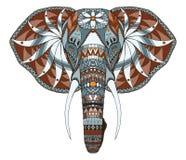 Lo zentangle capo dell'elefante ha stilizzato, vector, illustrazione, a mano libera Immagini Stock Libere da Diritti