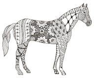 Lo zentangle cinese del segno dello zodiaco del cavallo ha stilizzato, illustrazione di vettore Fotografia Stock