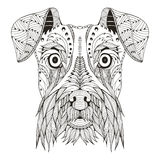 Lo zentangle della testa di cane dello schnauzer ha stilizzato, vector, illustrazione fotografie stock