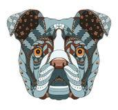 Lo zentangle inglese della testa del bulldog ha stilizzato, vector, illustrazione Fotografia Stock Libera da Diritti