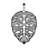 Lo zentangle tropicale delle foglie ha stilizzato, illustrazione di vettore, matita disegnata a mano merletto Arte di zen per la  Fotografia Stock