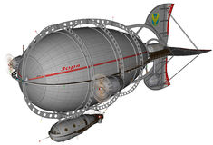 Lo zeppelin Macine del dirigibile di Steampunk ha isolato illustrazione vettoriale