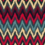 Lo zigzag dipinto a mano rosso senza cuciture di Tan Navy Blue Colors Rough di vettore allinea il modello royalty illustrazione gratis
