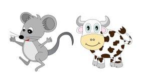 Lo zodiaco cinese ha impostato 1: Mouse e bue Fotografia Stock